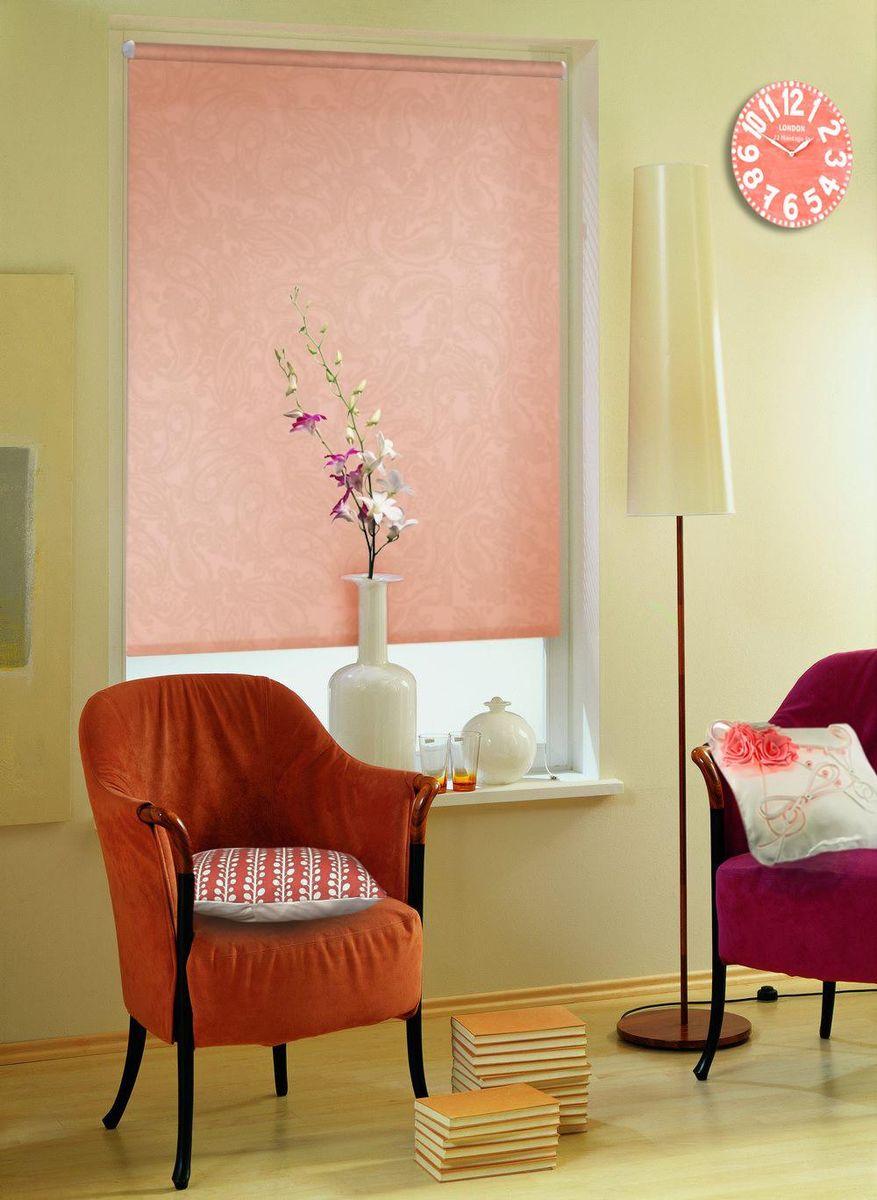 Рулонными шторами можно оформлять окна как самостоятельно, так и использовать в комбинации с портьерами. Это поможет предотвратить выгорание дорогой ткани на солнце и соединит функционал рулонных штор с красотой  навесных.   Основу готовых штор составляет тканевое полотно, которое при открывании наматывается на вал, закрепленный в верхней части окна. Для удобства управления и ровного натяжения полотна снизу оно утяжелено пластиной.  Светонепроницаемость 60%.  Полотна фиксируются с помощью трубы диаметром 25 мм. Крепление осуществляется на стену или потолок с помощью сверления.   Преимущества применения рулонных штор для пластиковых окон:    - имеют прекрасный внешний вид: многообразие и фактурность материала изделия отлично смотрятся в любом интерьере;  - многофункциональны: есть возможность подобрать шторы способные эффективно защитить комнату от солнца, при этом она не будет слишком темной;   - есть возможность осуществить быстрый монтаж.    ВНИМАНИЕ! Ширина изделия указана по ширине ткани!   Во время эксплуатации не рекомендуется полностью разматывать рулон, чтобы не оторвать ткань от намоточного вала.   В случае загрязнения поверхности ткани, чистку шторы проводят одним из способов, в зависимости от типа загрязнения:  - легкое поверхностное загрязнение можно удалить при помощи канцелярского ластика;  - чистка от пыли производится сухим методом при помощи пылесоса с мягкой щеткой-насадкой;  - для удаления пятна используйте мягкую губку с пенообразующим неагрессивным моющим средством или пятновыводитель на натуральной основе (нельзя применять растворители).