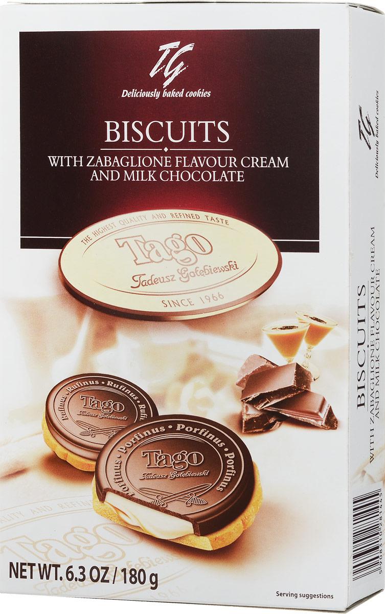 Tago Печенье Кардиналки забайоне в шоколаде, 180 г купить цельнозерновое печенье