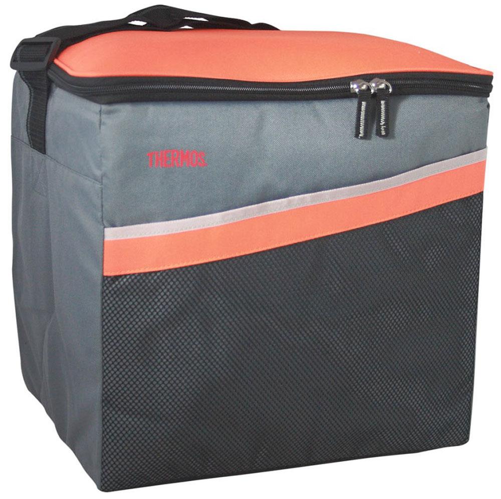 Термосумка Thermos Classic 36 Can Cooler, цвет: оранжевый, серый, 22 л517029Термосумка складная Classic 36 Can Cooler отличная альтернатива твердому пластиковому термобоксу. Фронтальные стенки и крышка выполнены из твердого пластика. Боковые стенки и дно съемные, благодаря чему изделие полностью складывается. Объем: 22 л.