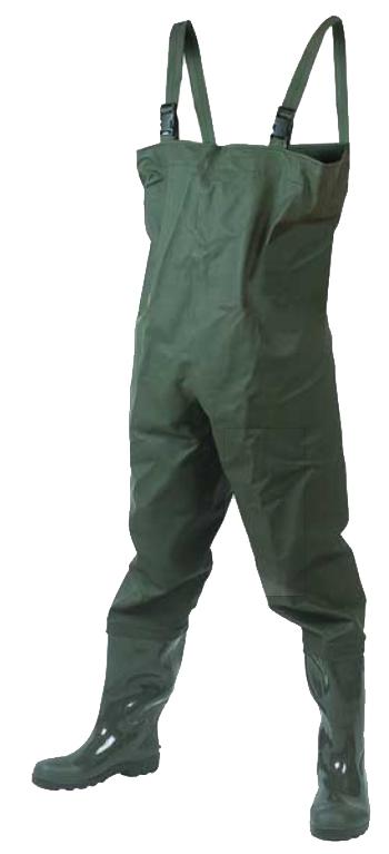 Полукомбинезон рыбацкий мужской Вездеход, цвет: оливковый. СВ-17ПР. Размер 426-4-046Полукомбинезон мужской Вездеход специально предназначен для забродной рыбалки. Полукомбинезон изготовлен из морозостойкого водонепроницаемого материала - винитол, оснащен лямками регулируемой длины с пластиковыми застежками фастекс. Низ полукомбинезона производен путем литья ПВХ под давлением, что гарантирует его полную водонепроницаемость и высокую износостойкость. Верх сапога изготовлен из прочной ткани с нанесенным водонепроницаемым слоем ПВХ. Все швы делаются методом сварки с применением токов высокой частоты, что гарантирует полную защиту от влаги. Верх сапога, изготовленный таким методом, остается максимально крепким при достаточно высокой эластичности, обеспечивая тем самым максимальный комфорт при носке.Применение сырья высокого качества позволяет использовать модель не только в теплое время года, но и во время небольших заморозков до -5°С.