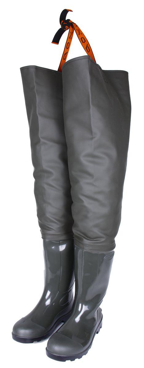 Сапоги для рыбалки мужские Вездеход, цвет: оливковый. СВ-17Р. Размер 416-5-107Рыбацкие сапоги Вездеход выполнены на современном итальянском оборудовании. Низ сапога произведен путем литья ПВХ под давлением, что гарантирует его полную водонепроницаемость и высокуюизносостойкость. Применение сырья высокого качества позволяет использовать обувь не только в теплое время года, но и во время небольших заморозков. Верх сапога изготовлен из прочной ткани с нанесенным водонепроницаемым слоем ПВХ. Все швы делаются методом сварки с применением токов высокой частоты, что гарантирует полную защиту от влаги. Верх сапога, изготовленный таким методом остается максимально крепким при достаточно высокой эластичности, обеспечивая тем самым максимальный комфорт при носке.