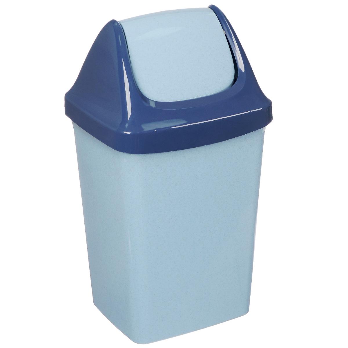 Контейнер для мусора Idea Свинг, цвет: голубой мрамор, 15 лМ 2462Контейнер для мусора Idea Свинг изготовлен из прочного полипропилена (пластика). Контейнер снабжен удобной съемной крышкой с подвижной перегородкой. Благодаря лаконичному дизайну такой контейнер идеально впишется в интерьер и дома, и офиса.