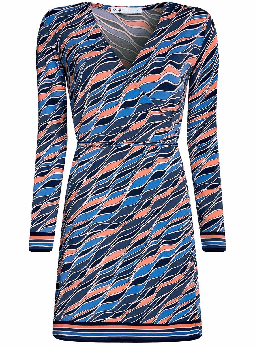 Платье oodji Ultra, цвет: темно-синий, коралловый. 14000167/46384/7943O. Размер S (44-170)14000167/46384/7943OПлатье с запахом oodji Ultra А, выгодно подчеркивающее достоинства фигуры,выполнено из качественного трикотажа. Модель мини-длины с короткимирукавами завязывается тонким пояском. Запах дополнительно фиксируется скрытыми пуговицами.