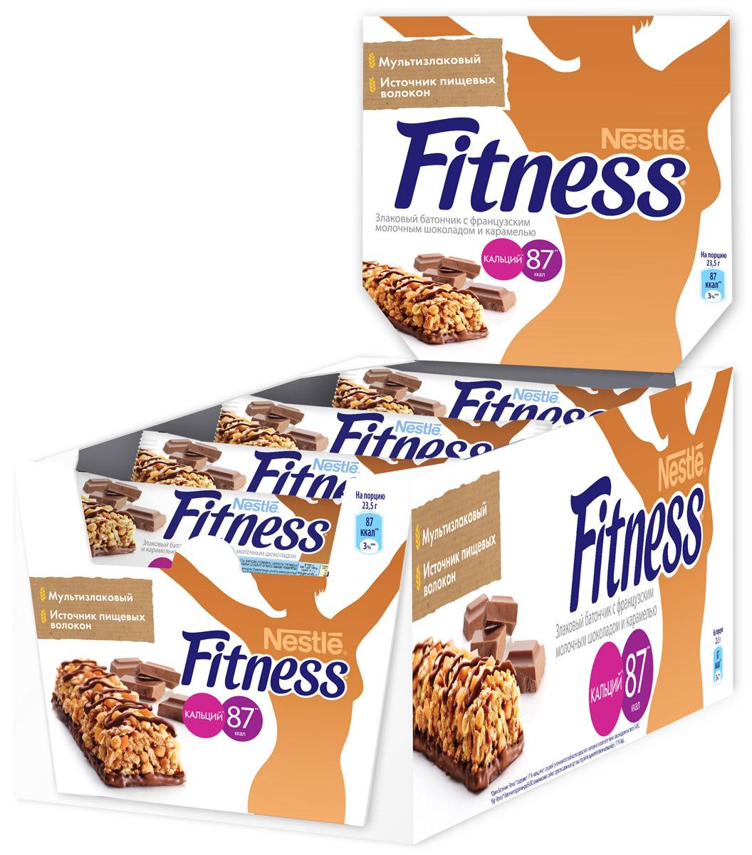 Nestle Fitness Злаковый батончик с французским молочным шоколадом и карамелью, 24 шт по 23,5 г райская птица темный шоколад 71% с лепестками розы 85 г