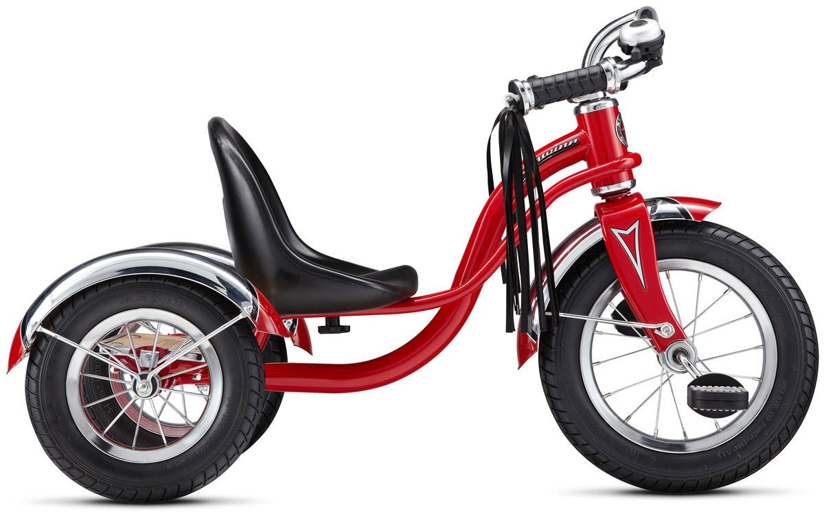 Schwinn Roadster Trike Детский трехколесный велосипед цвет красный38675674011Уникальный 3-колесный велосипед Schwinn Roadster Trike создан для самых маленьких.Создавайте воспоминания вместе с Schwinn Roadster Trike, которые будут длиться всю жизнь. Ярко-красный трёхколёсный ретро-байк с педалями на переднем колесе специально разработан с низким центром тяжести, что позволяет ребенку управлять велосипедом легко и безопасно. Велосипед имеет стальную раму и вилку. Сиденье сделано из прочной высококачественной пластмассы с возможностью регулировки по длине. Педали у велосипеда пластиковые с отражателями. Хромированные руль, крылья и звонок понравятся не только малышу, но и его родителям, когда будут наблюдать за его блестящими вело приключениями. Площадка для катания стоя поможет младенцу привыкать к скорости, а родителям участвовать в процессе катания.Предназначен для детей в возрасте от 1 до 3 лет.Американская компания Schwinn является одной из старейших на велосипедном рынке (производство велосипедов началось в 1895 году). В настоящий момент компания сосредоточена на эмоциональной составляющей продукта. Тщательно продуманная эргономика и максимальный комфорт - вот основные задачи перед разработчиками. Широкие улыбки владельцев Schwinn и наслаждение от катания - это победа бренда над конкурентами.