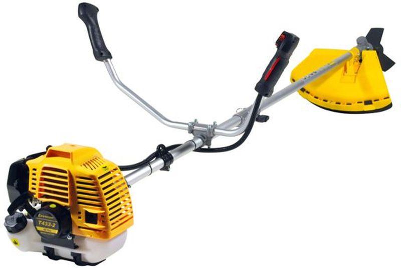 Триммер Champion Т433-2T433-2Триммер Champion Т433-2 является ярким представителем самых доступных устройств для скашивания травы. Он предназначен для больших по площади участков. Имеет металлический нож и леску в комплекте, что позволяет скашивать траву любой жесткости. Инструмент оснащен 2-х тактным двигателем с воздушным охлаждением. Разъемная штанга упрощает транспортировку и способствует компактности при хранении триммера. Ширина среза лески: 400 ммШирина среза ножа: 255 ммДлина штанги: 1493 мм