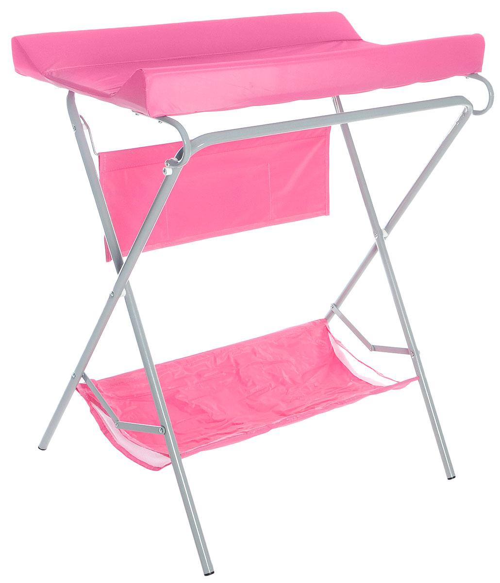 Фея Стол для пеленания цвет розовыйFN-ST3Пеленальный столик Фея - удобное приспособление для пеленания новорожденных и проведения гигиенических процедур. Текстильная корзинка внизу и карманчики сбоку позволяют разместить все необходимые для ухода за малышом аксессуары, включая пеленки или подгузники. Откидная доска освобождает место для установки ванночки (в комплект не входит). Возможность складывать столик когда тот не используется - значительно экономит место в комнате.Это идеальное приобретение для тех, кто не хочет или не может в силу маленькой площади детской заставлять ее лишней мебелью.
