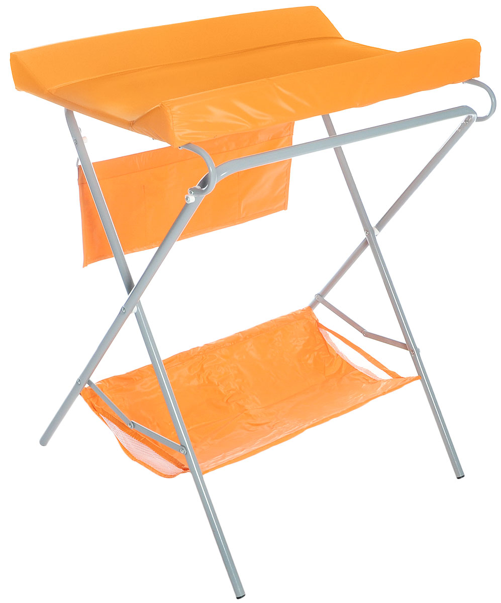 Фея Стол для пеленания цвет оранжевый4249-3Пеленальный столик Фея - удобное приспособление для пеленания новорожденных и проведения гигиенических процедур. Текстильная корзинка внизу и карманчики сбоку позволяют разместить все необходимые для ухода за малышом аксессуары, включая пеленки или подгузники. Откидная доска освобождает место для установки ванночки (в комплект не входит). Возможность складывать столик когда тот не используется - значительно экономит место в комнате.Это идеальное приобретение для тех, кто не хочет или не может в силу маленькой площади детской заставлять ее лишней мебелью.