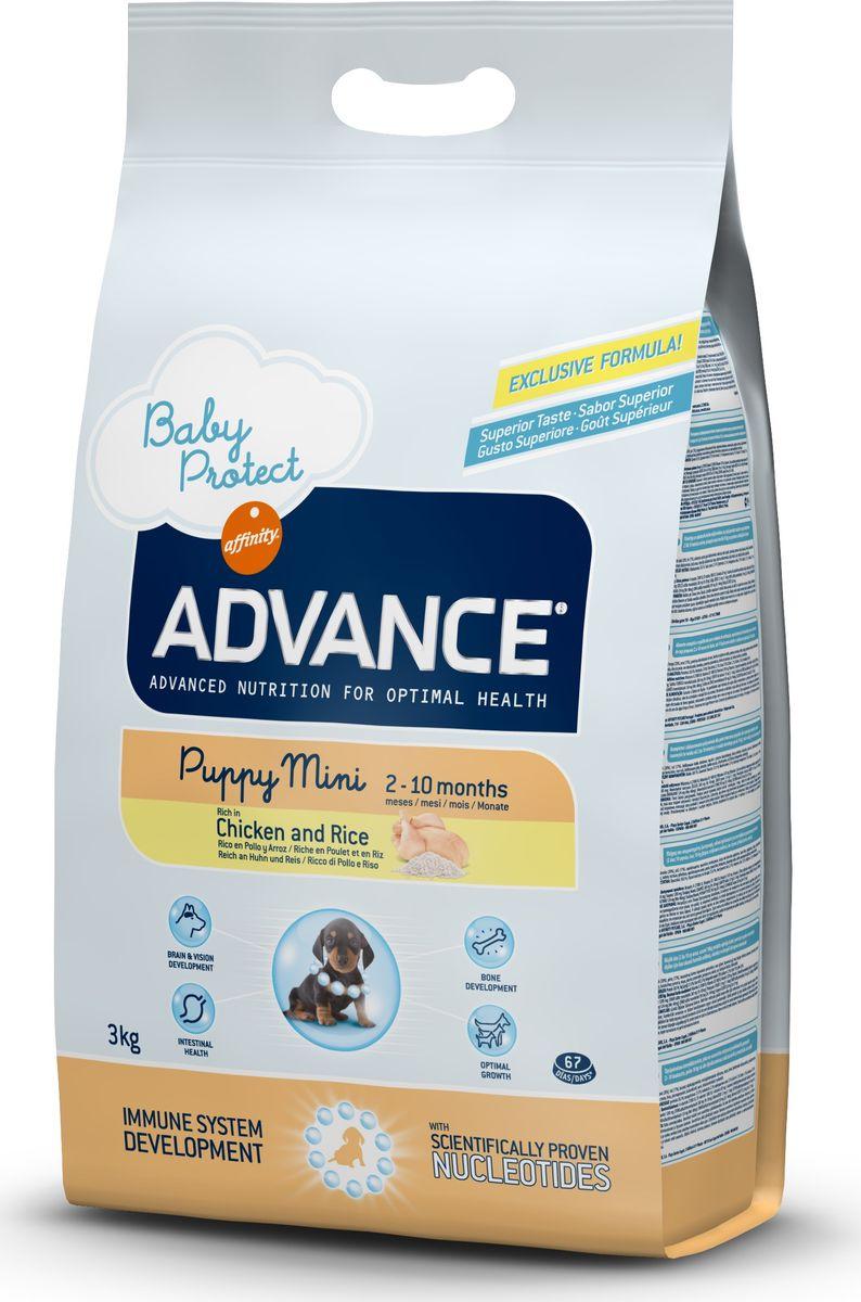 Корм сухой Advance Baby Protect Mini для щенков малых пород с 2 до 10 месяцев, 3 кг13044/501319Advance - высококачественный корм супер-премиум класса испанской компании Affinity Petcare, которая занимает лидирующие места на европейском и мировом рынках. Корм разработан с учетом всех особенностей развития и жизнедеятельности собак и кошек. В линейке кормов Advance любой хозяин может подобрать необходимое питание в соответствии с возрастом и уникальными особенностями своего животного, а также в случае назначения специалистами ветеринарной диеты. Affinity Petcare имеет собственную лабораторию, а также сотрудничает с множеством международных исследовательских центров, благодаря чему специалисты постоянно совершенствуют рецептуру и полезные свойства своих кормов. В составе главным источником белка является СВЕЖЕЕ мясо, благодаря которому корм обладает высокими вкусовыми качествами, а также высокой питательной ценностью. Advance Baby Protect Mini - высококачественный сбалансированный корм, специально разработанный для щенков (от 2 до 8 месяцев) мини-пород (вес взрослой собаки до 10 кг), а также для беременных и кормящих собак. Эксклюзивная формула, содержащая нуклеотиды, которая помогает повысить эффективность репликации клеток и обеспечивает оптимальное развитие тканей растущих щенков. Ускоренный эффект репликации клеток позволяет активизировать иммунную систему, усиливая защитный барьер организма против бактерий, вирусов и других патогенов. Корм с содержанием пребиотиков, пробиотиков и иммуноглобулинами для правильного развития и защиты желудочно-кишечного тракта.Состав: курица (20%), рис (17%), дегидрированное мясо курицы, мука из маиса, животный жир, маис, пшеница, гидролизованный белок животного происхождения, свекольный жом, рыбий жир, яичный порошок, дрожжи, плазменный протеин, хлористый калий, соль, трикальцийфосфат, нуклеотиды.Анализ: протеин 30%, жиры 21%, сырые волокна 2,5%, неорганическое вещество 7%, кальций 1,2%, фосфор 1%, влажность 8%.Энергетическая ценнос