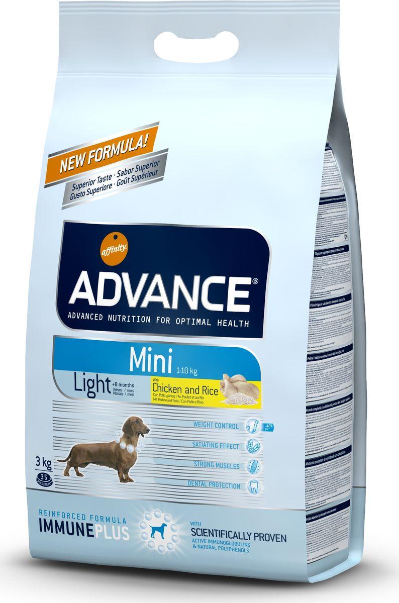 Корм сухой Advance Mini Light для собак малых пород, с курицей и рисом, 3 кг корм сухой advance gastro enteric для собак при патологии жкт и ожирении 12 кг