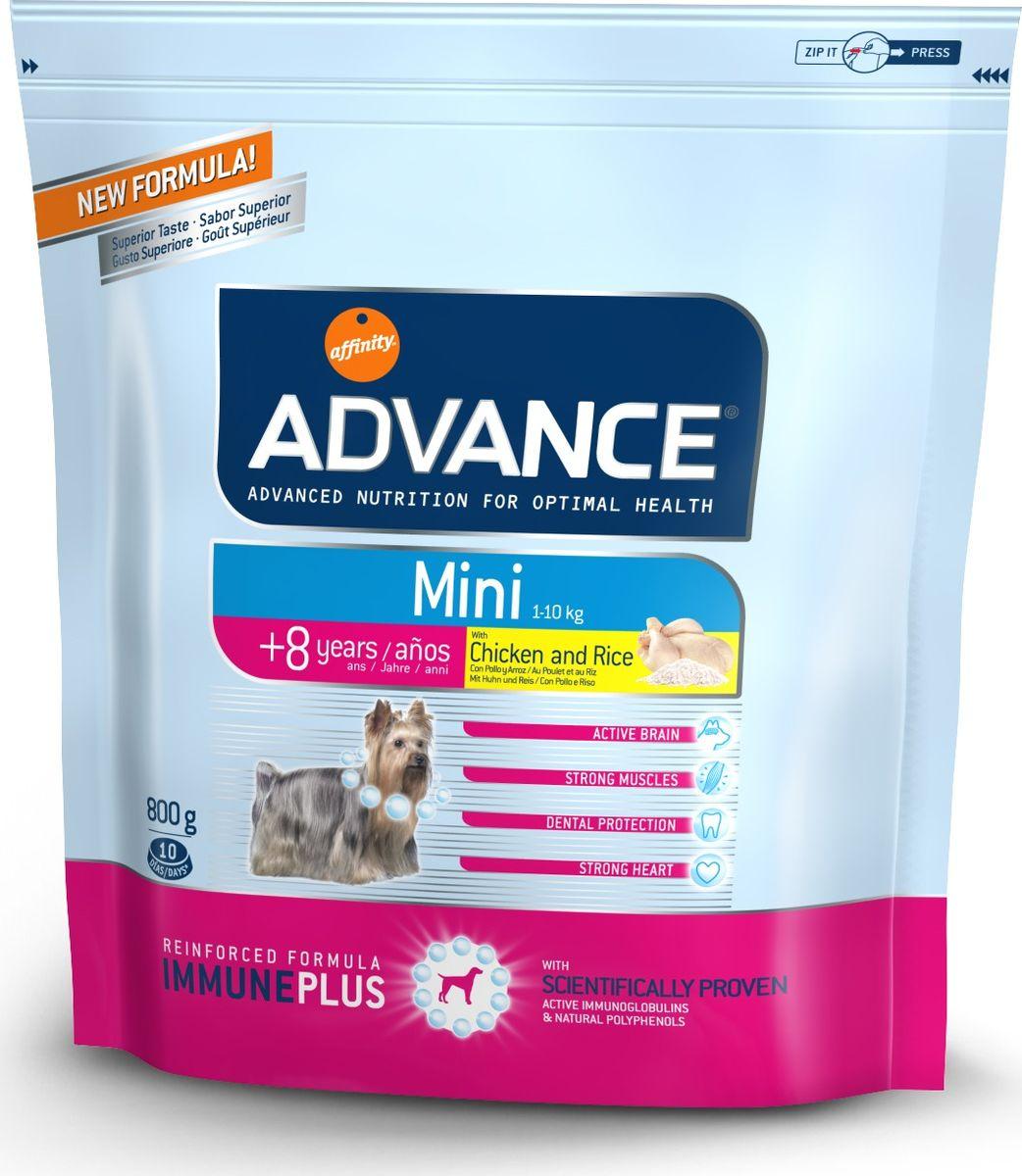 Корм сухой Advance Mini Senior для собак малых пород старше 8 лет, с курицей и рисом, 0,8 кг13051/547119Advance - высококачественный корм супер-премиум класса испанской компании Affinity Petcare, которая занимает лидирующие места на европейском и мировом рынках. Корм разработан с учетом всех особенностей развития и жизнедеятельности собак и кошек. В линейке кормов Advance любой хозяин может подобрать необходимое питание в соответствии с возрастом и уникальными особенностями своего животного, а также в случае назначения специалистами ветеринарной диеты. Affinity Petcare имеет собственную лабораторию, а также сотрудничает с множеством международных исследовательских центров, благодаря чему специалисты постоянно совершенствуют рецептуру и полезные свойства своих кормов. В составе главным источником белка является СВЕЖЕЕ мясо, благодаря которому корм обладает высокими вкусовыми качествами, а также высокой питательной ценностью. Состав: курица (16%), мука из маиса, дегидрированное мясо курицы, пшеница, рис (10%), мука из пшеницы, маис, гидролизированный белок животного происхождения, животный жир, свекольный жом, кукурузные отруби, яичный порошок, дрожжи, рыбий жир, хлористый калий, плазменный протеин, карбонат кальция, пирофосфорнокислый натрий, глюкозамин, хондроитин сульфат, природные полифенолы.Анализ: протеин 28%, жиры 15%, сырые волокна 2,5%, неорганическое вещество 6%, кальций 1,1%, фосфор 0,8%, влажность 9%.Энергетическая ценность 3690 ккал/кг. Товар сертифицирован.