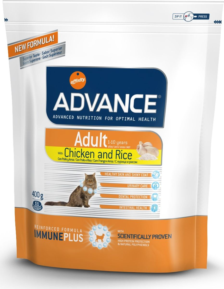 Корм сухой Advance для взрослых кошек, с курицей и рисом, 0,4 кг20714/922209Advance - высококачественный корм супер-премиум класса испанской компании Affinity Petcare, которая занимает лидирующие места на европейском и мировом рынках. Корм разработан с учетом всех особенностей развития и жизнедеятельности собак и кошек. В линейке кормов Advance любой хозяин может подобрать необходимое питание в соответствии с возрастом и уникальными особенностями своего животного, а также в случае назначения специалистами ветеринарной диеты. Affinity Petcare имеет собственную лабораторию, а также сотрудничает с множеством международных исследовательских центров, благодаря чему специалисты постоянно совершенствуют рецептуру и полезные свойства своих кормов. В составе главным источником белка является СВЕЖЕЕ мясо, благодаря которому корм обладает высокими вкусовыми качествами, а также высокой питательной ценностью. Состав: курица (20%), маис, дегидрированное мясо курицы, маисовый глютен, рис (8%), животный жир, гидролизированный белок животного происхождения, дегидрированный белок свинины, гидролизированный белок рыбы, яичный порошок, дрожжи, рыбий жир, хлористый калий, плазменный протеин, соль, природные полифенолы. Анализ: протеин 37%, жиры 16%, сырые волокна 1%, неорганическое вещество 6,5%, кальций 1,1%, фосфор 1%, натрий 0,3%, влажность 8%.Энергетическая ценность 4180 ккал/кг. Товар сертифицирован.