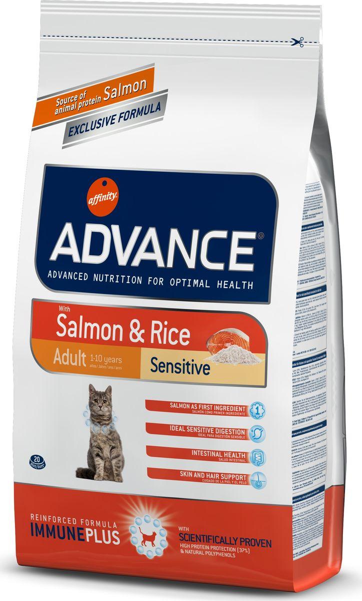 Корм сухой Advance для кошек с чувствительным пищеварением, с лососем и рисом, 1,5 кг20719/922072Advance - высококачественный корм супер-премиум класса испанской компании Affinity Petcare, которая занимает лидирующие места на европейском и мировом рынках. Корм разработан с учетом всех особенностей развития и жизнедеятельности собак и кошек. В линейке кормов Advance любой хозяин может подобрать необходимое питание в соответствии с возрастом и уникальными особенностями своего животного, а также в случае назначения специалистами ветеринарной диеты. Affinity Petcare имеет собственную лабораторию, а также сотрудничает с множеством международных исследовательских центров, благодаря чему специалисты постоянно совершенствуют рецептуру и полезные свойства своих кормов. В составе главным источником белка является СВЕЖЕЕ мясо, благодаря которому корм обладает высокими вкусовыми качествами, а также высокой питательной ценностью. Состав: лосось (18%), мука из маиса, рис (15%), дегидрированный белок лосося, пшеница, пшеничный протеин, животный жир, маис, гидролизированный белок, свекольный жом, дрожжи, хлористый калий, инулин, плазменный протеин, монокальцийфосфат, природные полифенолы.Анализ: протеин 37%, жиры 16%, сырые волокна 1,5%, неорганическое вещество 6,6%, кальций 1,1%, фосфор 0,95%, натрий 0,35%, влажность 8%.Энергетическая ценность 3990 ккал/кг. Товар сертифицирован.