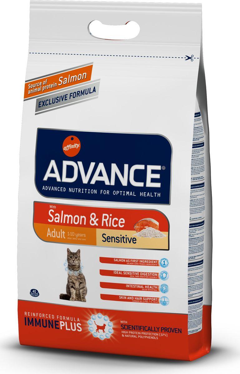 Корм сухой Advance для кошек с чувствительным пищеварением, с лососем и рисом, 3 кг20720/922073Advance - высококачественный корм супер-премиум класса испанской компании Affinity Petcare, которая занимает лидирующие места на европейском и мировом рынках. Корм разработан с учетом всех особенностей развития и жизнедеятельности собак и кошек. В линейке кормов Advance любой хозяин может подобрать необходимое питание в соответствии с возрастом и уникальными особенностями своего животного, а также в случае назначения специалистами ветеринарной диеты. Affinity Petcare имеет собственную лабораторию, а также сотрудничает с множеством международных исследовательских центров, благодаря чему специалисты постоянно совершенствуют рецептуру и полезные свойства своих кормов. В составе главным источником белка является СВЕЖЕЕ мясо, благодаря которому корм обладает высокими вкусовыми качествами, а также высокой питательной ценностью. Состав: лосось (18%), мука из маиса, рис (15%), дегидрированный белок лосося, пшеница, пшеничный протеин, животный жир, маис, гидролизированный белок, свекольный жом, дрожжи, хлористый калий, инулин, плазменный протеин, монокальцийфосфат, природные полифенолы.Анализ: протеин 37%, жиры 16%, сырые волокна 1,5%, неорганическое вещество 6,6%, кальций 1,1%, фосфор 0,95%, натрий 0,35%, влажность 8%.Энергетическая ценность 3990 ккал/кг. Товар сертифицирован.