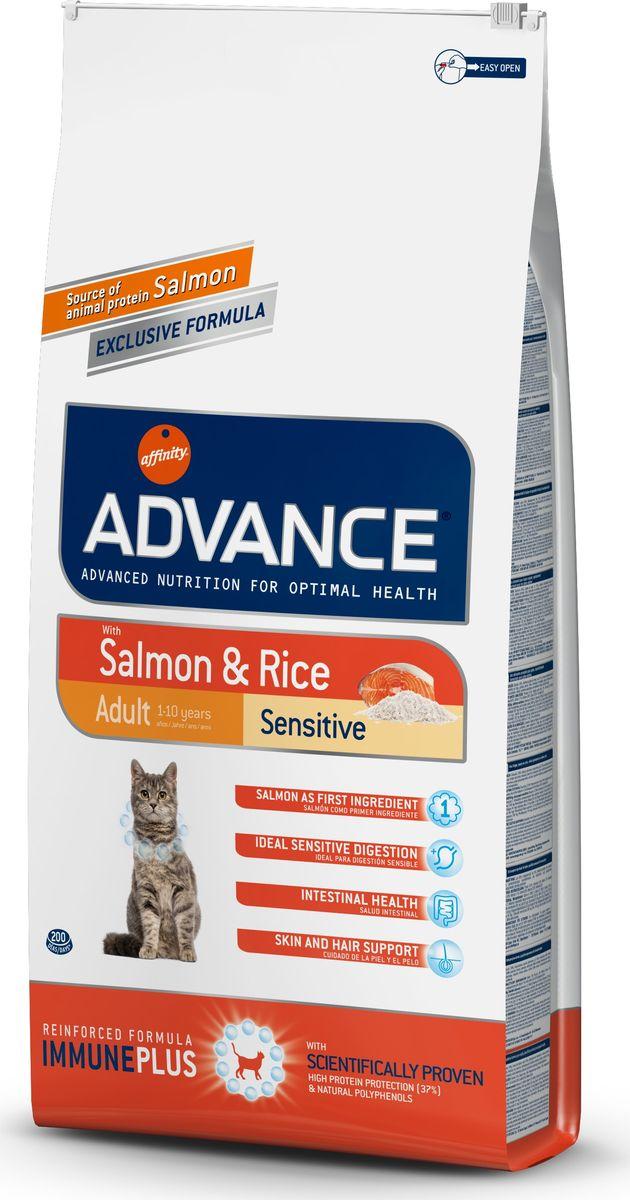 Корм сухой Advance для кошек с чувствительным пищеварением, с лососем и рисом, 15 кг20721/922074Advance - высококачественный корм супер-премиум класса испанской компании Affinity Petcare, которая занимает лидирующие места на европейском и мировом рынках. Корм разработан с учетом всех особенностей развития и жизнедеятельности собак и кошек. В линейке кормов Advance любой хозяин может подобрать необходимое питание в соответствии с возрастом и уникальными особенностями своего животного, а также в случае назначения специалистами ветеринарной диеты. Affinity Petcare имеет собственную лабораторию, а также сотрудничает с множеством международных исследовательских центров, благодаря чему специалисты постоянно совершенствуют рецептуру и полезные свойства своих кормов. В составе главным источником белка является СВЕЖЕЕ мясо, благодаря которому корм обладает высокими вкусовыми качествами, а также высокой питательной ценностью. Состав: лосось (18%), мука из маиса, рис (15%), дегидрированный белок лосося, пшеница, пшеничный протеин, животный жир, маис, гидролизированный белок, свекольный жом, дрожжи, хлористый калий, инулин, плазменный протеин, монокальцийфосфат, природные полифенолы.Анализ: протеин 37%, жиры 16%, сырые волокна 1,5%, неорганическое вещество 6,6%, кальций 1,1%, фосфор 0,95%, натрий 0,35%, влажность 8%.Энергетическая ценность 3990 ккал/кг. Товар сертифицирован.