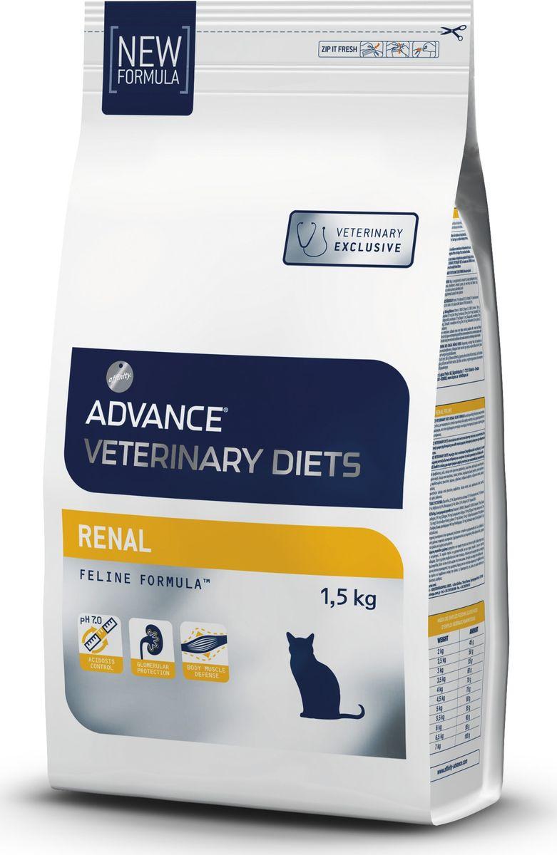 Корм сухой Advance Renal Failure, для кошек при почечной недостаточности, 1,5 кг корм сухой advance gastro enteric для собак при патологии жкт и ожирении 12 кг