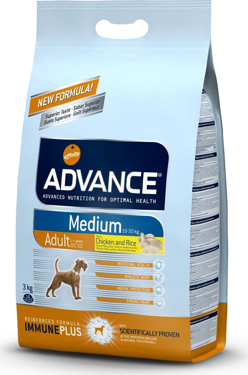 Корм сухой Advance Medium Adult для собак средних пород, с курицей и рисом, 3 кг46476/508319Advance - высококачественный корм супер-премиум класса испанской компании Affinity Petcare, которая занимает лидирующие места на европейском и мировом рынках. Корм разработан с учетом всех особенностей развития и жизнедеятельности собак и кошек. В линейке кормов Advance любой хозяин может подобрать необходимое питание в соответствии с возрастом и уникальными особенностями своего животного, а также в случае назначения специалистами ветеринарной диеты.Affinity Petcare имеет собственную лабораторию, а также сотрудничает с множеством международных исследовательских центров, благодаря чему специалисты постоянно совершенствуют рецептуру и полезные свойства своих кормов. В составе главным источником белка является СВЕЖЕЕ мясо, благодаря которому корм обладает высокими вкусовыми качествами, а также высокой питательной ценностью. Состав: курица (20%), рис (15%), дегидрированное мясо курицы, пшеница, мука из маиса, животный жир, маис, гидролизованный белок животного происхождения, свекольный жом, рыбий жир, яичный порошок, дрожжи, хлористый калий, плазменный протеин, пирофосфорнокислый натрий, соль, природные полифенолы. Анализ: протеин 27%, жиры 18,5%, сырые волокна 2%, неорганическое вещество 6,5%, кальций 1,3%, фосфор 1%, влажность 9%.Энергетическая ценность 3865 ккал/кг. Товар сертифицирован.Чем кормить пожилых собак: советы ветеринара. Статья OZON Гид