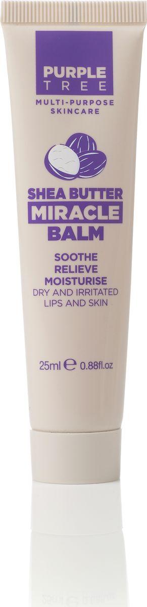Purple Tree Бальзам для губ Miracle Balm Shea Butter, 25 мл000133Масло Ши прекрасно питает, увлажняет, смягчает, успокаивает, защищать кожу от воздействия солнечных лучей и способствует ее восстановлению, обладает противовоспалительной активностью и регенерирующими свойствами.