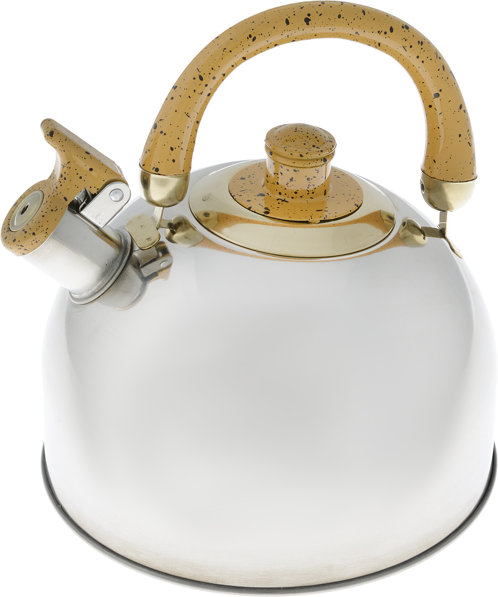 Чайник Mayer & Boch, цвет: стальной, бордовый, золотой, 4 л. 1046A1046A_стальной, бордовый, золотойЧайник Mayer & Boch изготовлен из высококачественной нержавеющей стали с зеркальной полировкой, что делает его весьма гигиеничным и устойчивым к износу при длительном использовании. Гладкая и ровная поверхность существенно облегчает уход за посудой. Выполненный из качественных материалов чайник при кипячении сохраняет все полезные свойства воды. Носик чайника имеет откидной свисток, звуковой сигнал которого подскажет, когда закипит вода. Крышка, свисток и ручка выполнены из бакелита.Классический дизайн чайника Mayer & Boch дополнит любую кухню. Подходит для использования на всех типах кухонных плит, кроме индукционных.Высота чайника (с учетом ручки): 21 см. Высота чайника (без учета ручки и крышки): 12 см. Диаметр по верхнему краю: 8,5 см.