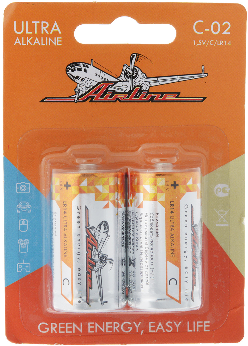 Набор алкалиновых батареек Airline, тип C, 2 штC-02Щелочные (алкалиновые) батарейки Airline оптимально подходят для повседневного питания множества современных бытовых приборов: электронных игрушек, фонарей, беспроводной компьютерной периферии и многого другого. Батарейки созданы для устройств со средним и высоким потреблением энергии. Работают в 10 раз дольше, чем обычные солевые элементы питания. В комплект входят две батарейки типа C.