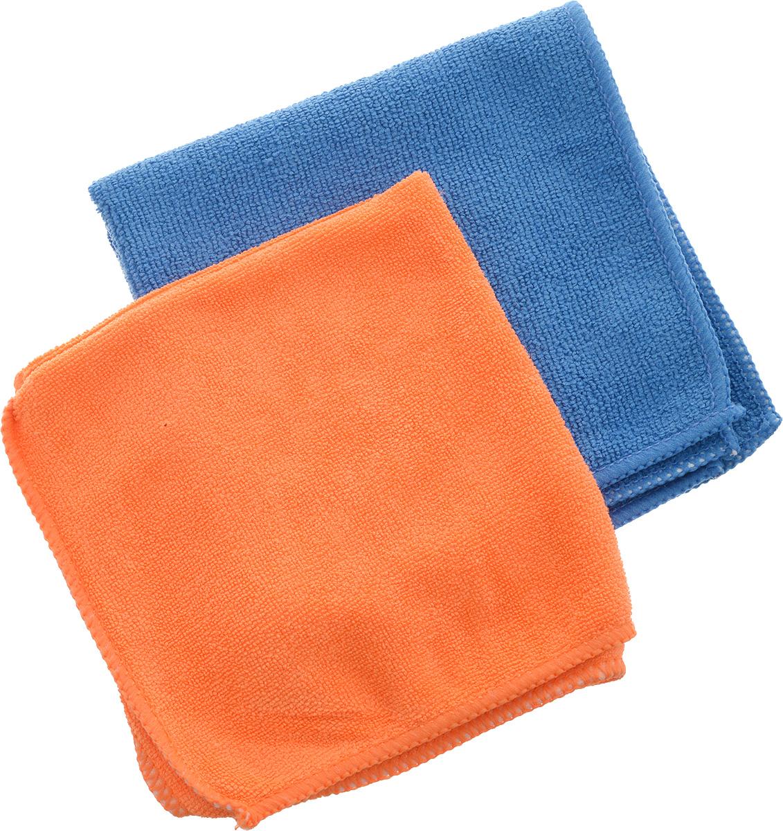 Набор салфеток из микрофибры Airline, цвет: синий, оранжевый, 30 х  см, 2 шт