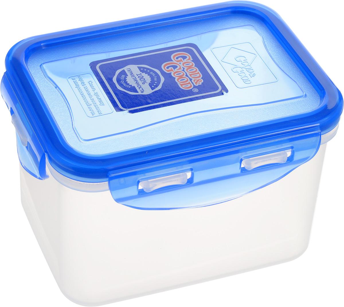 """Прямоугольный контейнер """"Good&Good"""" изготовлен из высококачественного полипропилена и предназначен для хранения любых пищевых продуктов. Благодаря особым технологиям изготовления, лотки в течение времени службы не меняют цвет и не пропитываются запахами. Крышка с силиконовой вставкой герметично защелкивается специальным механизмом.  Контейнер """"Good&Good"""" удобен для ежедневного использования в быту. Можно мыть в посудомоечной машине и использовать в микроволновой печи. Размер контейнера (с учетом крышки): 13 х 9,5 х 8,5 см."""