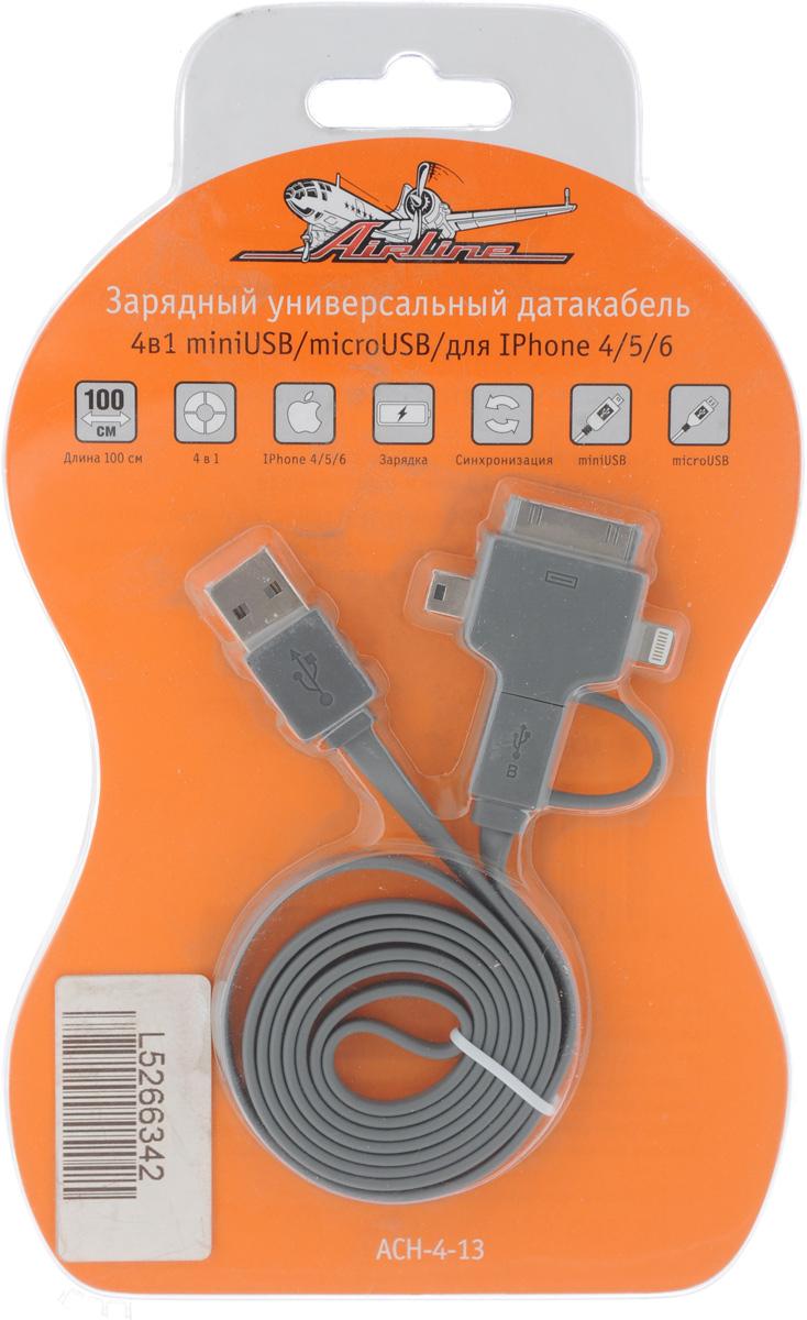 Датакабель зарядный 4 в 1 Airline, универсальныйACH-4-13Универсальный зарядный датакабель 4 в 1 Airline оснащен несколькими портами для подсоединения различных устройств. Благодаря изделию можно производить не только зарядку мобильного телефона, но также использовать его в качестве соединителя между телефоном и компьютером. Изделие подходит для использования, как дома, так и в автомобиле. Подходит для устройств с разъемом miniUSB/microUSB, для IPhone 4/5/6, iPod touch, iPod nano 7, iPad 4, iPad mini. Длина: 100 см.