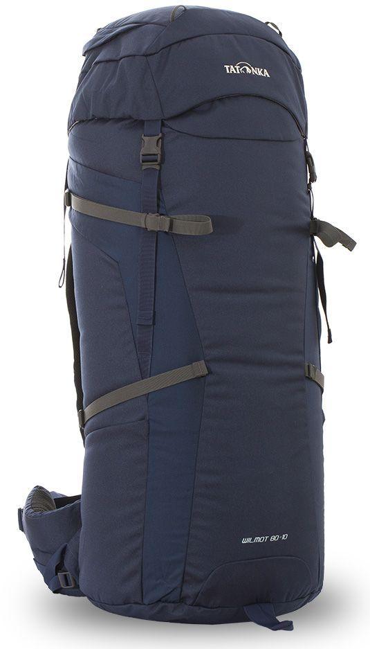 Рюкзак туристический Tatonka Wilmot, цвет: темно-синий, 90 лDI.6058.004Классический туристический рюкзак Tatonka Wilmot выполнен в строгом дизайне из прочной ткани Textreme 6.6. Два просторных отделения позволит с удобством разместить все необходимые в походе или путешествии вещи. За счет объемной крышки и расширяющегося основного отделения объем рюкзака достигает 105 литров. Прочная удобная спинка рюкзака выполнена с учетом анатомических особенностей спины человека, благодаря этому с рюкзаком будет комфортно идти даже в продолжительном походе. Особенности:- Система подвески Y1. - Одно основное отделение, увеличивающееся в верхней части. - Объемная крышка рюкзака с крючком для ключей.- 4 петли на крышке. - Крышка рюкзака регулируется по высоте (до 25 см выше стандартного положения). - Затяжка внутреннего отделения на один или два шнура, в зависимости от объема заполнения. - 4 боковые затяжки позволяют регулировать объем.- Петли для крепления трекинговых палок. - Два боковых просторных кармана. - Широкий плотный набедренный пояс с двумя параметрами регулировки (по ширине и степени прилегания к рюкзаку).- Спинка рюкзака выполнена с учетом анатомических особенностей спины человека. - Сетчатые элементы в спине и набедренном поясе обеспечивают вентиляцию в жаркую погоду. - Регулируемый по ширине и высоте нагрудный ремень. - В нагрудный ремень вшита резинка для комфорта движения.- Прочная ручка для переноски и помощи при надевании рюкзака. - Молнии YKK.