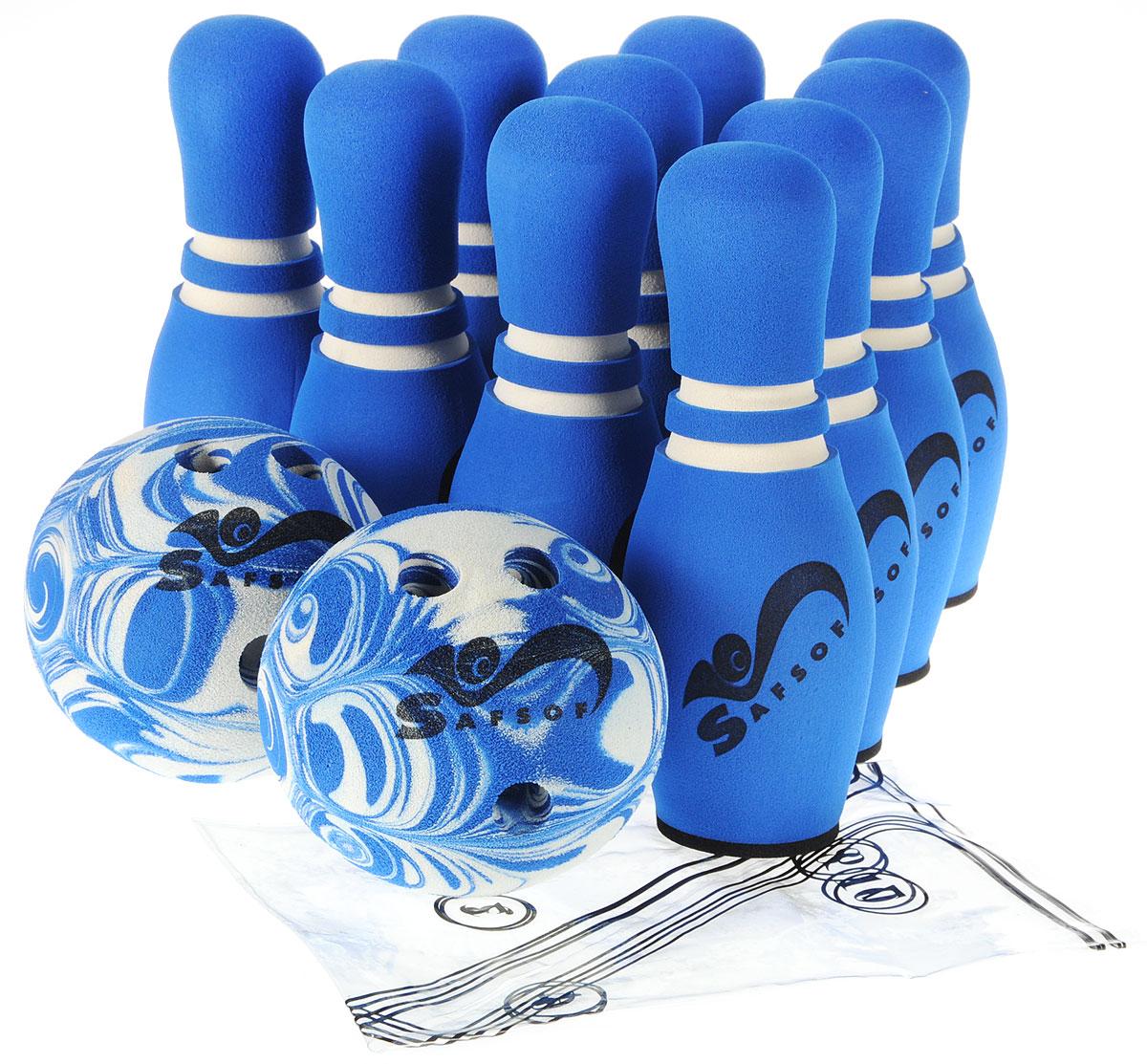 Safsof Игровой набор Боулинг цвет синий белый диаметр шара 14 см - Игры на открытом воздухе