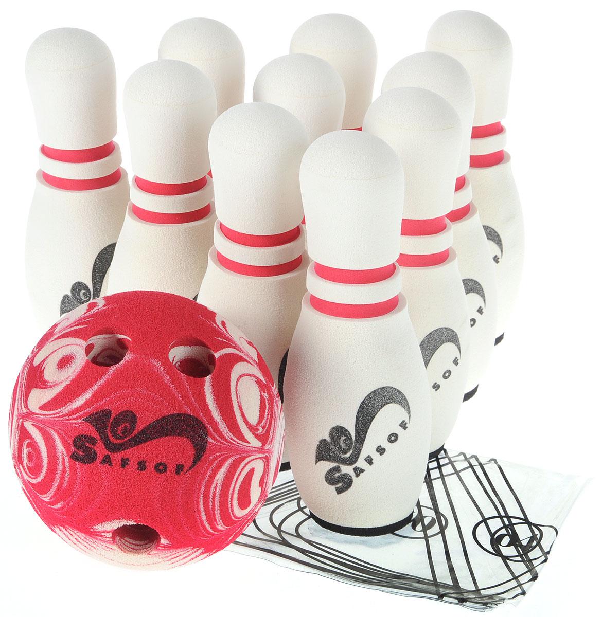 Safsof Игровой набор Боулинг цвет белый бордовый