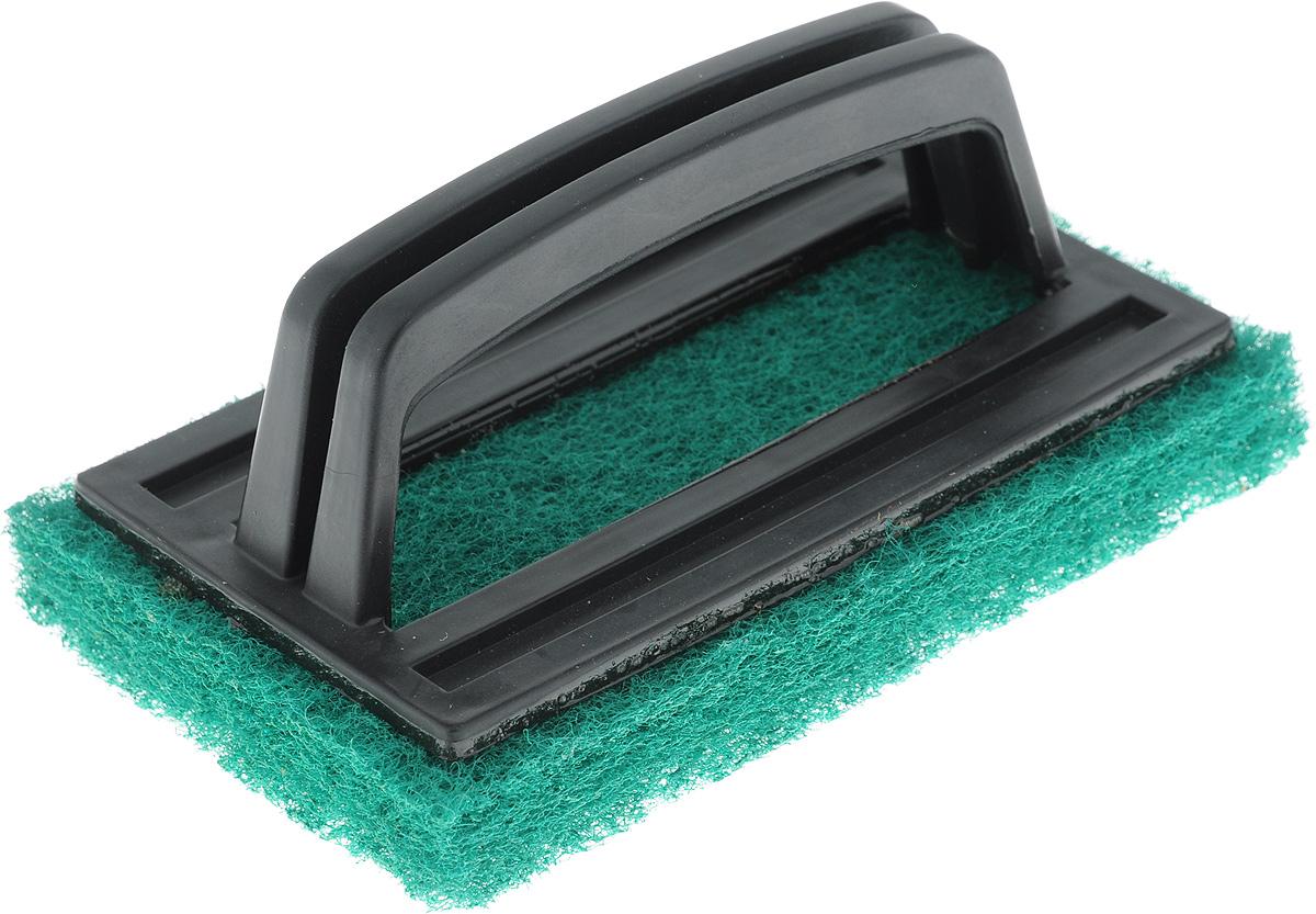 Щетка-скраб Хозяюшка Мила, цвет: зеленый, черный, 15 x 6 x 9 смSV3929-17PSУдобная щетка с абразивным чистящим слоем успешно заменит обычные хозяйственные щетки с щетиной. Пластиковая ручка защищает руки от влаги и механических воздействий. Подходит для очистки сантехники, кафеля, кухонных плит и других поверхностей. Размер щетки: 15 x 6 x 9 см.