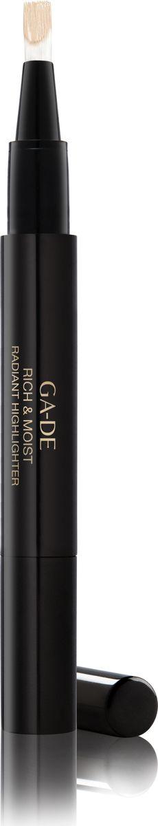 Ga-de Хайлайтер Rich&moist № 11, 2,5 мл.SH-00009Этот кремообразный хайлайтер со светоотражающим эффектом, созданный на основе увлажняющего комплекса и витаминов, придает Вашей коже сияние, скрывает морщины и другие недостатки кожи и позволяет подчеркнуть макияж. Одним взмахом кисточки ручка -хайлайтер освежает и осветляет кожу, придавая области вокруг глаз и другим участкам лица естественный оттенок. Хайлайтер удобен в использовании, подходит для обновления Вашего макияжа в течение дня.