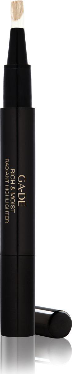 Ga-de Хайлайтер Rich&moist № 12, 2,5 мл.119300012Этот кремообразный хайлайтер со светоотражающим эффектом, созданный на основе увлажняющего комплекса и витаминов, придает Вашей коже сияние, скрывает морщины и другие недостатки кожи и позволяет подчеркнуть макияж. Одним взмахом кисточки ручка -хайлайтер освежает и осветляет кожу, придавая области вокруг глаз и другим участкам лица естественный оттенок. Хайлайтер удобен в использовании, подходит для обновления Вашего макияжа в течение дня.