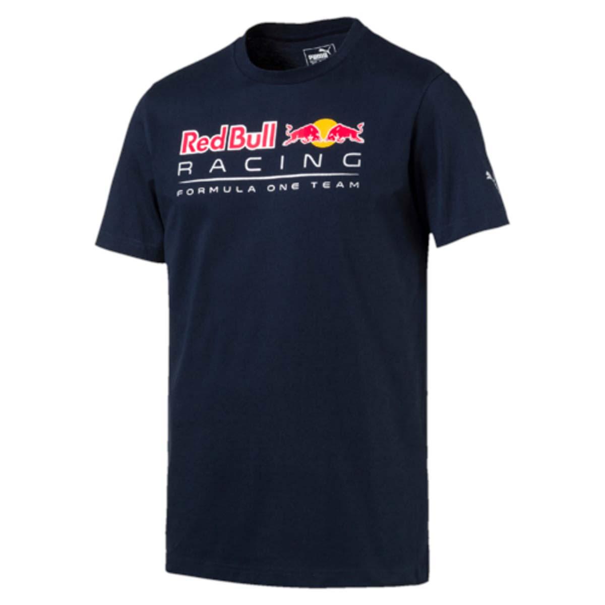Футболка мужская Puma RBR Logo Tee, цвет: синий. 572747_01. Размер M (46/48)572747_01Футболка мужская RBR Logo Tee выполнена из чистого хлопка и отличается хорошей воздухопроницаемостью. Изделие имеет классический крой, круглый вырез горловины и короткие рукава. Спереди модель украшена логотипом Red Bull Racing, на левом рукаве имеется логотип PUMA. Такая футболка незаменима для любителей автоспорта.
