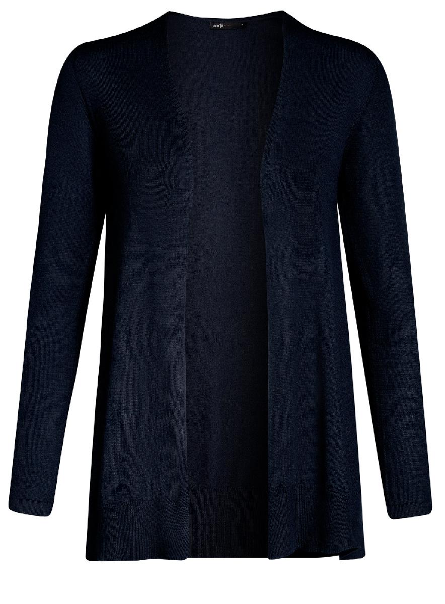 Жакет женский oodji Ultra, цвет: темно-синий. 63212577/46629/7900N. Размер XXL (52)63212577/46629/7900NТрикотажный жакет oodji изготовлен из качественного смесового материала. Модель с длинными рукавами выполнена без застежки.