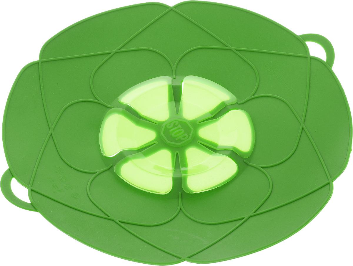 Крышка-невыкипайка As Seen On TV, цвет: зеленый, диаметр 29 см24256_зеленыйКрышка-невыкипайка As Seen On TV изготовлена из термостойкого силикона высокого качества, поэтому не теряет формы при воздействии высоких температур. Подходит для посуды диаметром 15-29 см. Изделие предотвращает выкипание, защищает мебель и плиту от брызг масла при жарке продуктов, следовательно, ваша кухня всегда будет в чистоте. Крышку также можно использовать для приготовления пищи на пару.Можно мыть в посудомоечной машине, использовать в СВЧ и в холодильнике.При хранении в прохладных местах крышка обеспечит свежесть продуктов. При использовании крышки в микроволновой печи масло не разбрызгивается.Размер крышки (с учетом ручек): 32 х 29 см.