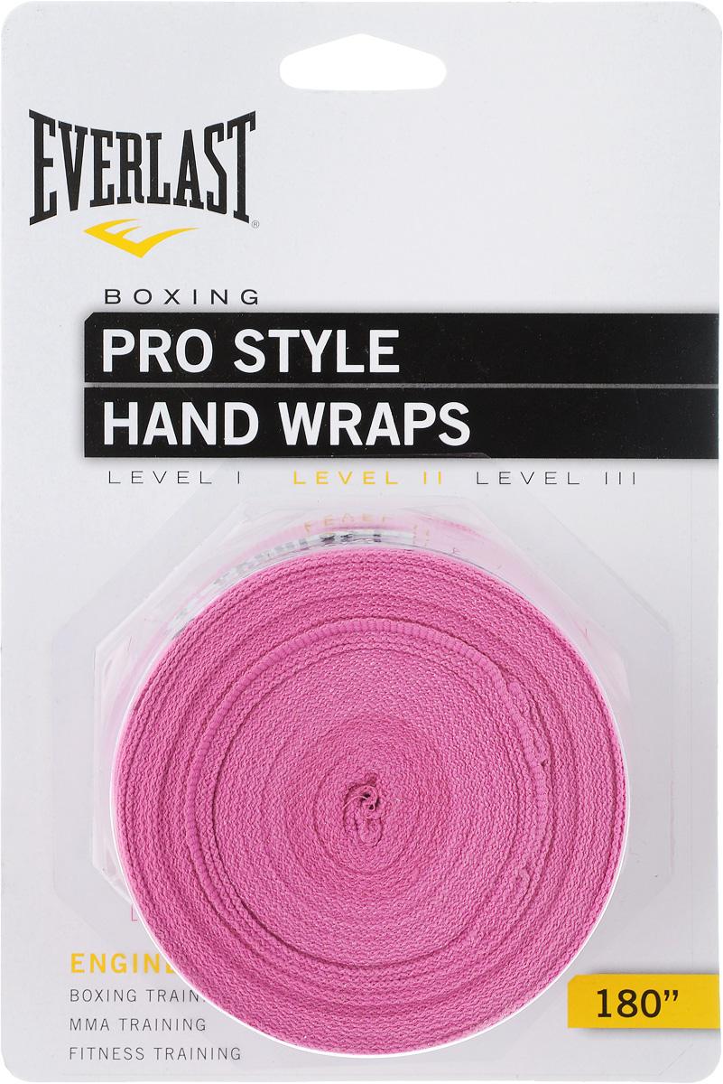 Бинты боксерские Everlast Pro style, эластичные, цвет: розовый, длина 4,55 м, 2 шт4456PNKUЭластичный бинт Everlast Pro style обеспечивает высокую степень комфорта и безопасности во время тренировок. Материал прекрасно защищает костяшки пальцев, ладонь и запястье, и, в то же время, не препятствует доступу воздуха к коже, позволяя руке дышать. Бинт снабжен удобным креплением на большой палец и надежной застежкой на липучке. Изготовлен из современного эластичного материала, благодаря чему обладает высокой прочностью и износоустойчивостью. Подлежит машинной стирке.Длина одного бинта: 4,55 м.Ширина: 5 см.