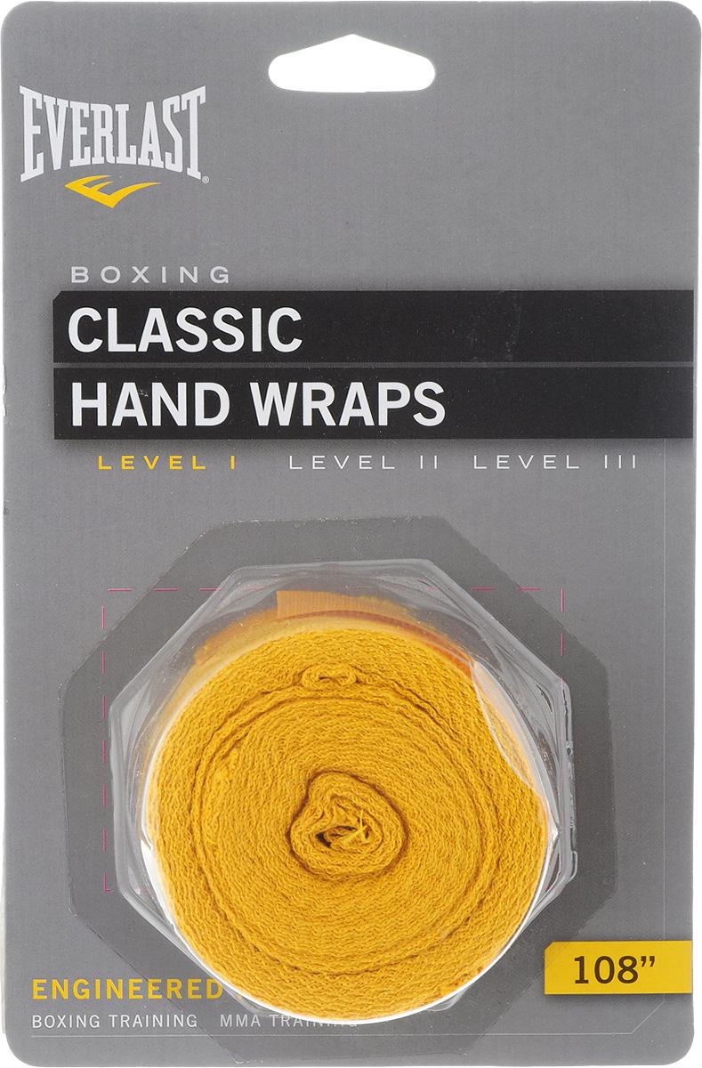 """Бинты боксерские Everlast """"Classic"""", эластичные, цвет: желтый, длина 2,75 м, 2 шт"""