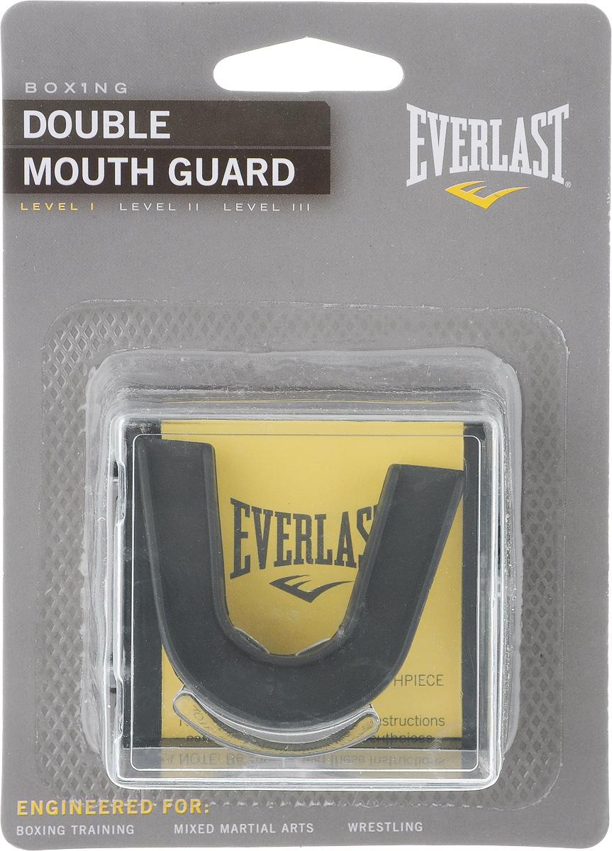 Капа двухчелюстная Everlast Double, взрослая, цвет: черный капа everlast single 4405be 1 челюст черный в коробке