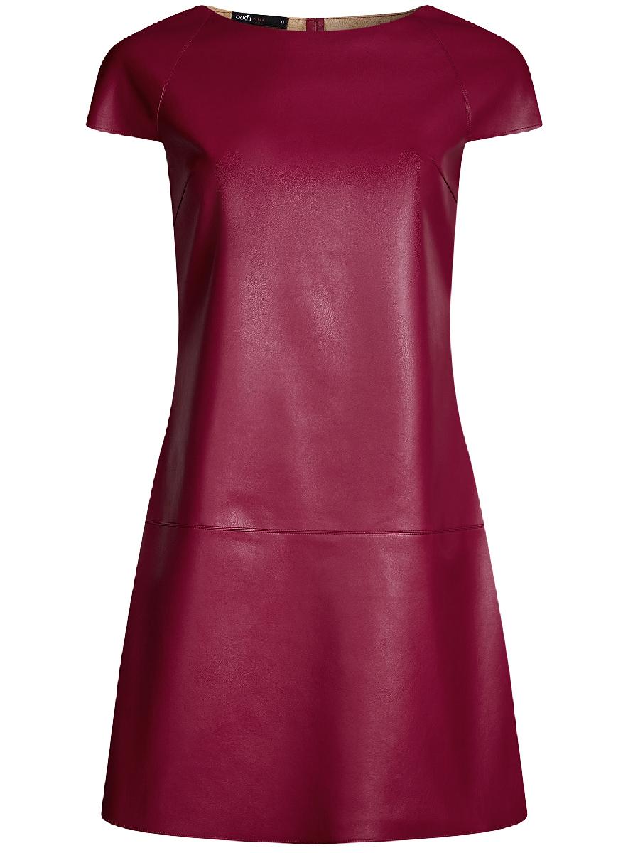 Платье oodji Ultra, цвет: бордовый. 18L01002/45902/4900N. Размер 34-170 (40-170)18L01002/45902/4900NСтильное приталенное платье oodji Ultra выполнено из искусственной кожи. Модель мини-длины с коротким рукавами и круглым вырезом горловины дополнена декоративными металлическими молниями на плечах.