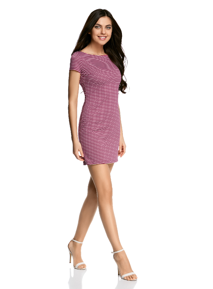 Платье oodji Ultra, цвет: фуксия, белый. 14001117-5B/46674/4712S. Размер M (46-170)14001117-5B/46674/4712SЛаконичное облегающее платье oodji Ultra выполнено из качественного трикотажа и оформлено принтом в тонкую полоску. Модель мини-длины с вырезом-лодочкойи короткими рукавами выгодно подчеркивает достоинства фигуры.