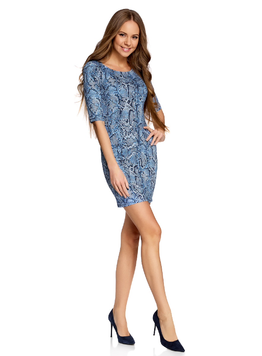 Платье oodji Ultra, цвет: темно-синий, синий. 14001121-3B/16300/7975A. Размер S (44-170)14001121-3B/16300/7975AОблегающее платье oodji Ultra выполнено из качественного трикотажа и оформлено оригинальным принтом. Модель мини-длины с круглым вырезом горловиныи рукавами средней длинывыгодно подчеркивает достоинства фигуры.