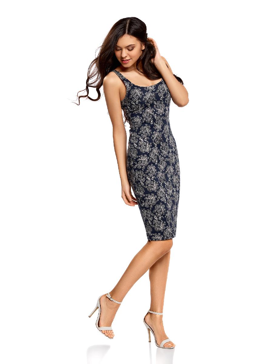 Платье oodji Ultra, цвет: темно-синий, светло-серый. 14015007-3B/37809/7920E. Размер XS (42-170)14015007-3B/37809/7920EЛегкое обтягивающее платье oodji Ultra, выгодно подчеркивающее достоинства фигуры, выполнено из качественного трикотажа. Модель миди-длины с круглым вырезом горловины и узкими бретелями оформлена оригинальным узором. Юбка с задней стороны дополнена разрезом.