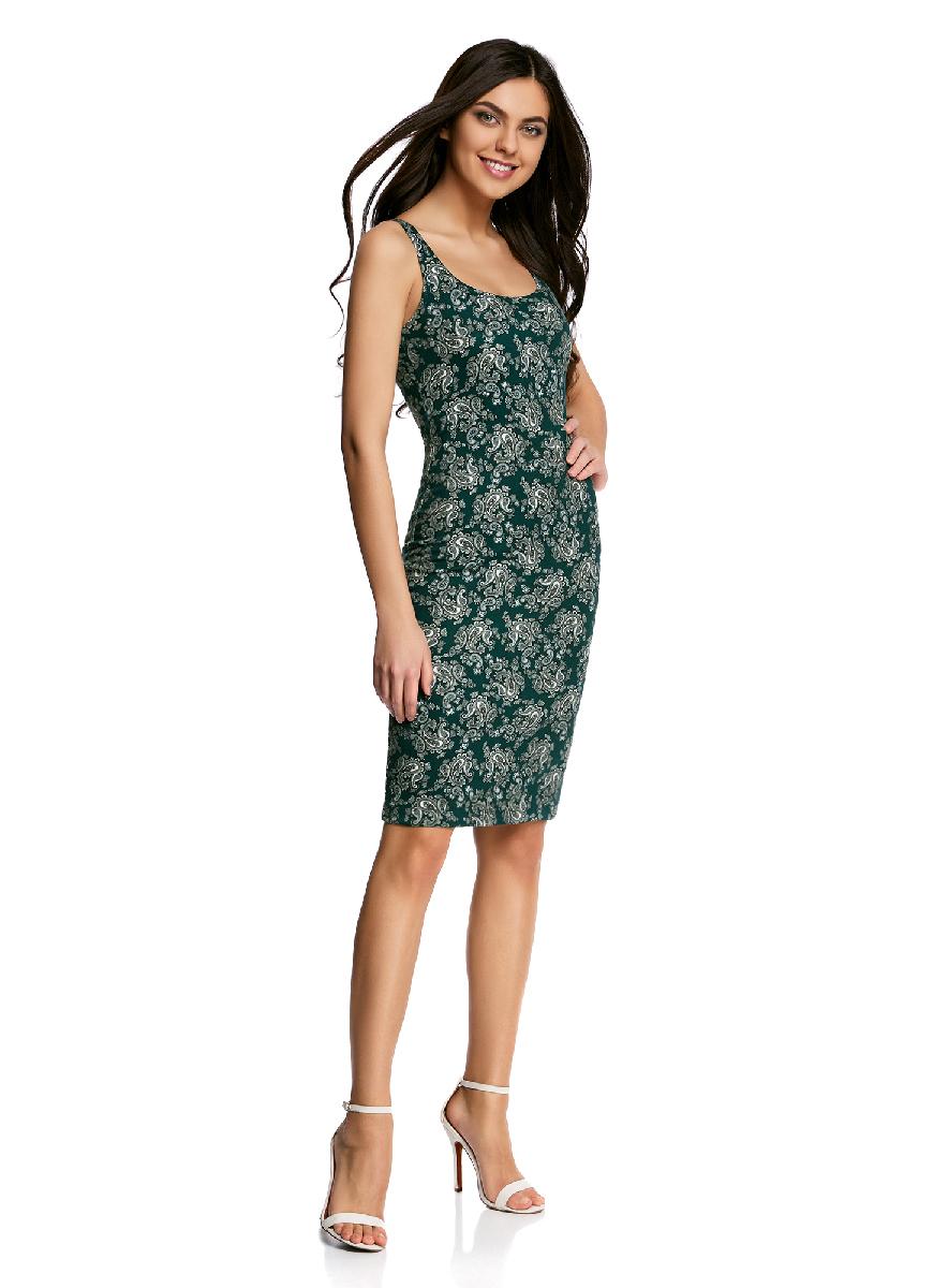Платье oodji Ultra, цвет: темно-зеленый, белый. 14015007-3B/37809/6912E. Размер XS (42-170)14015007-3B/37809/6912EЛегкое обтягивающее платье oodji Ultra, выгодно подчеркивающее достоинства фигуры, выполнено из качественного трикотажа. Модель миди-длины с круглым вырезом горловины и узкими бретелями оформлена оригинальным узором. Юбка с задней стороны дополнена разрезом.
