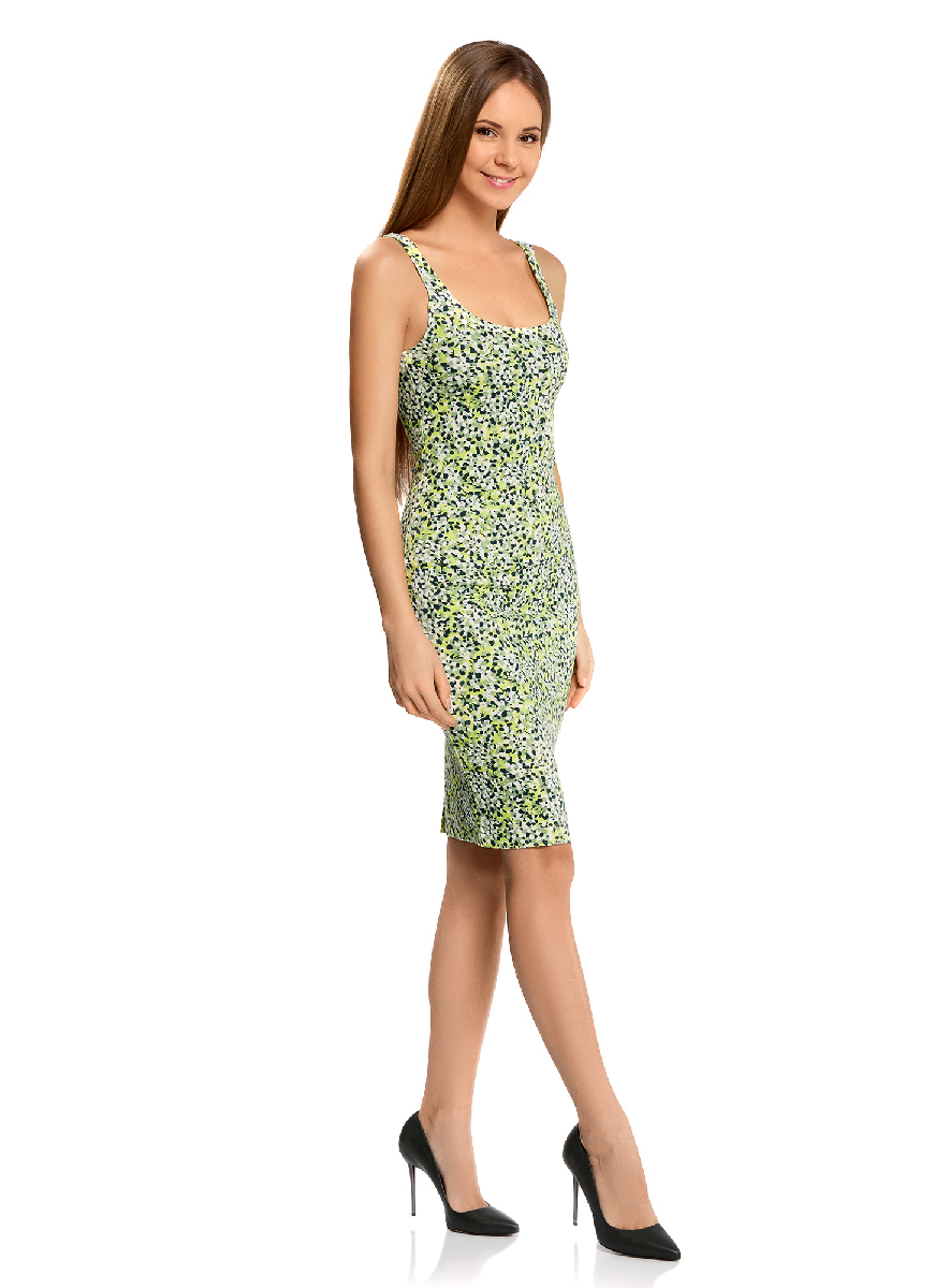 Платье oodji Ultra, цвет: темно-зеленый, зеленый. 14015007-3B/37809/6762F. Размер S (44)