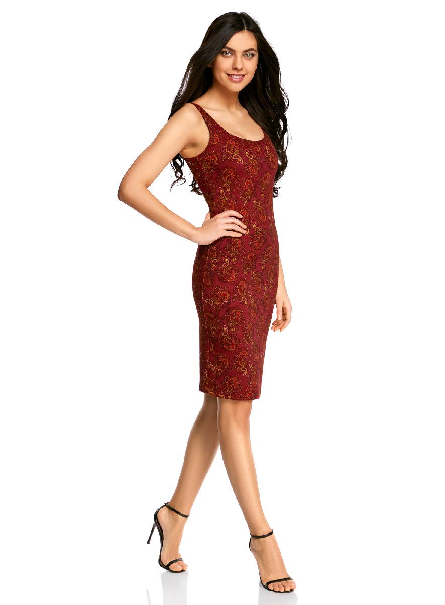 Платье oodji Ultra, цвет: бордовый, темно-оранжевый. 14015007-3B/37809/4959E. Размер XS (42-170)14015007-3B/37809/4959EЛегкое обтягивающее платье oodji Ultra, выгодно подчеркивающее достоинства фигуры, выполнено из качественного трикотажа. Модель миди-длины с круглым вырезом горловины и узкими бретелями оформлена оригинальным узором. Юбка с задней стороны дополнена разрезом.