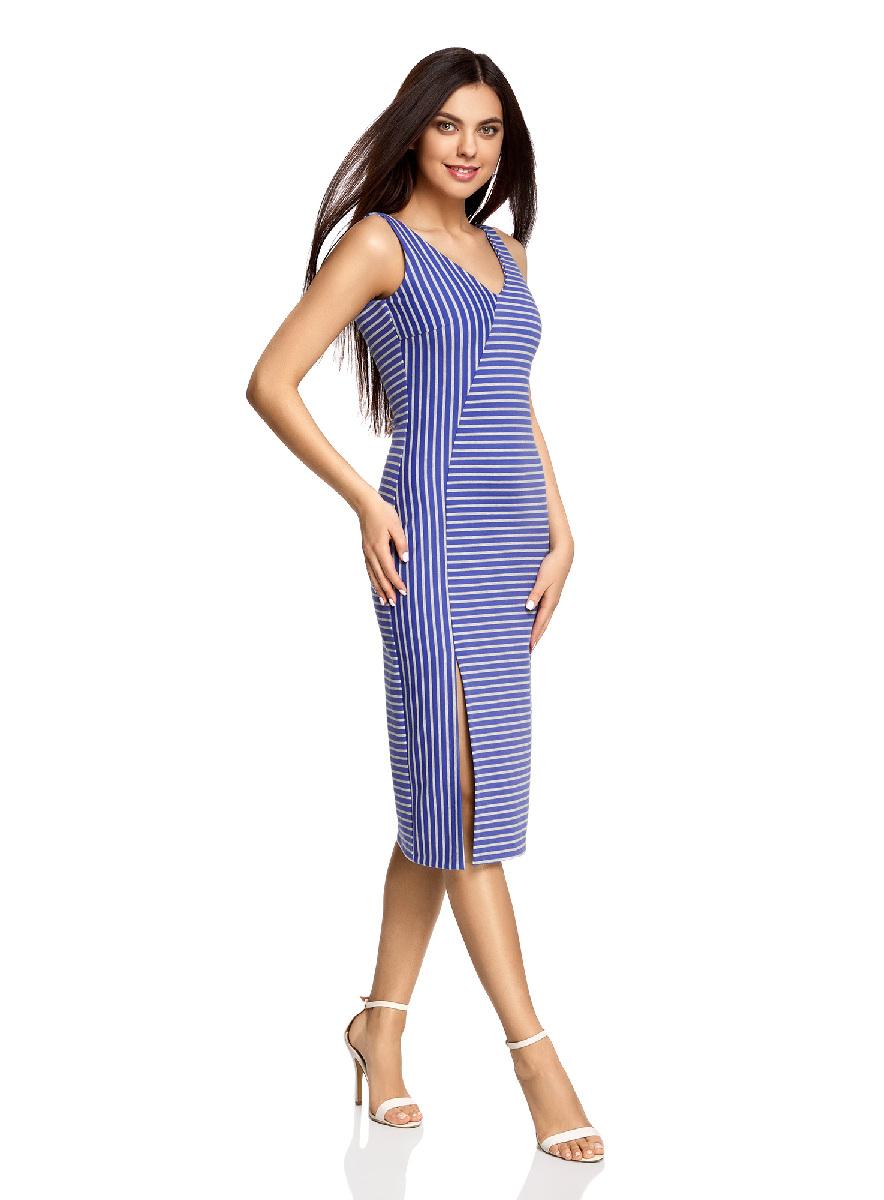 Платье oodji Ultra, цвет: светло-серый, синий. 14015014/37809/2075S. Размер M (46-170)14015014/37809/2075SСтильное платье с вырезом на спине oodji Ultra выгодно подчеркнет достоинства фигуры. Модель ассиметричного кроя с открытыми плечами и V-образным вырезом горловины застегивается на скрытую застежку-молнию на спинке. Спереди подол платья дополнен разрезом.
