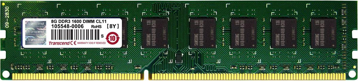 все цены на Transcend DDR3 DIMM 8GB 1600МГц модуль оперативной памяти (TS1GLK64V6H) онлайн