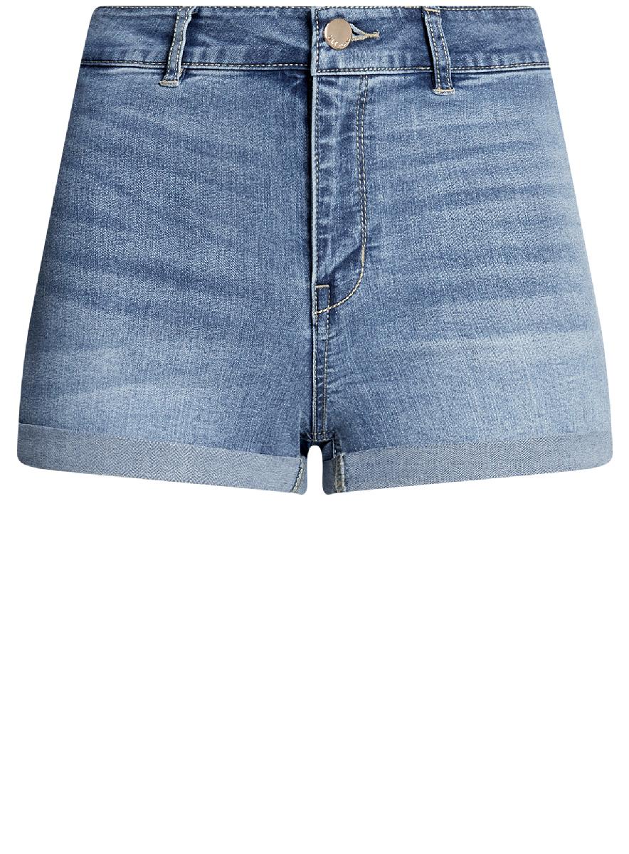 Шорты женские oodji Ultra, цвет: синий джинс. 12807076-1B/45877/7500W. Размер 29 (48)12807076-1B/45877/7500WШорты джинсовые базовые с высокой посадкой