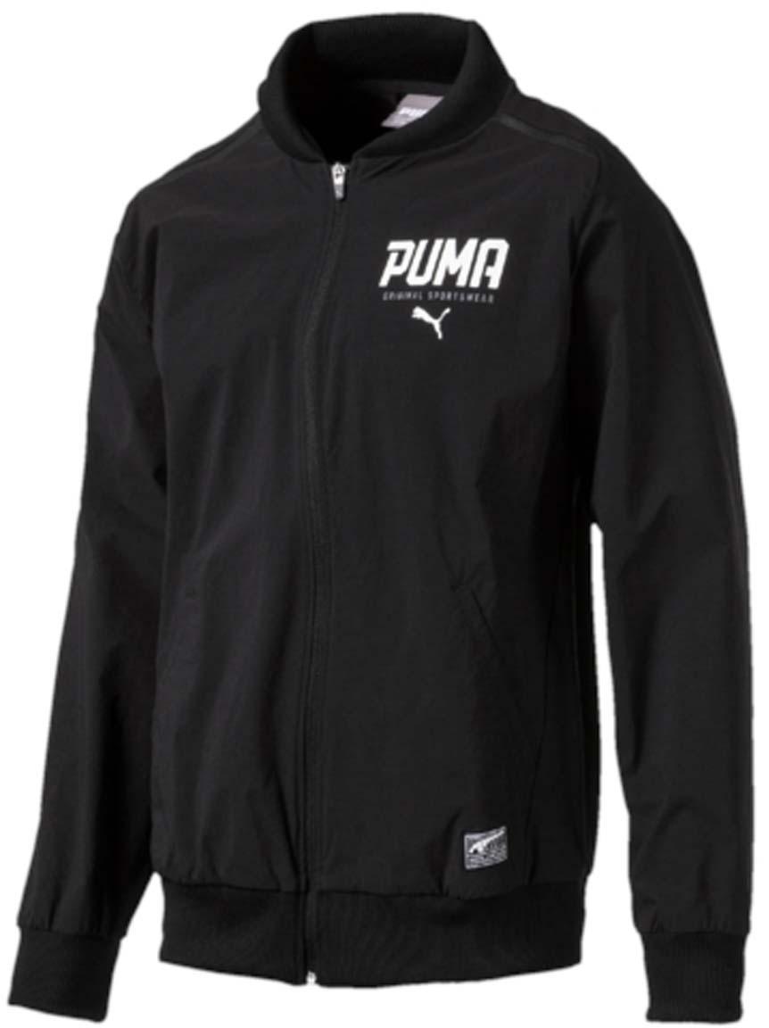 Куртка-бомбер мужская Puma Style Tec Stretch Bomber, цвет: черный. 59059901. Размер S (44/46)59059901Куртка STYLE Tec Stretch Bomber станет прекрасным дополнением спортивного городского стиля. Свободный покрой, эластичные манжеты, воротник и низ куртки, а также характерный ворот обеспечивают комфорт и отличную посадку по фигуре. Куртка изготовлена из легкого и эластичного материала. Спереди имеется застежка-молния и прорезные карманы с обтачками. Отделка швов на плечах выполнена матовой тесьмой. Рукава-реглан и боковые швы с нахлестом вперед обеспечивают полную свободу движений. Куртка декорирована графическим рельефным рисунком из прорезиненного материала и замши.